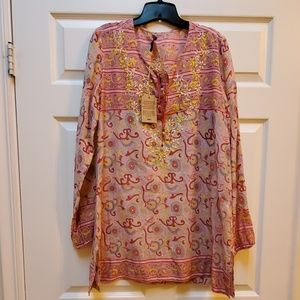 NWT Lucky Brand tunic size XL embroidered